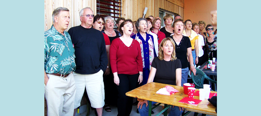 Singing after lunch and a few glasses of wine