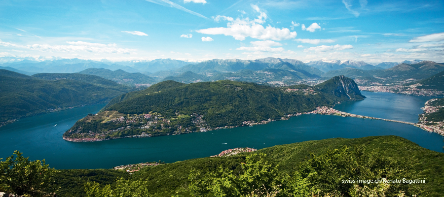 Lake Lugano with Morcote and Monte San Salvatore