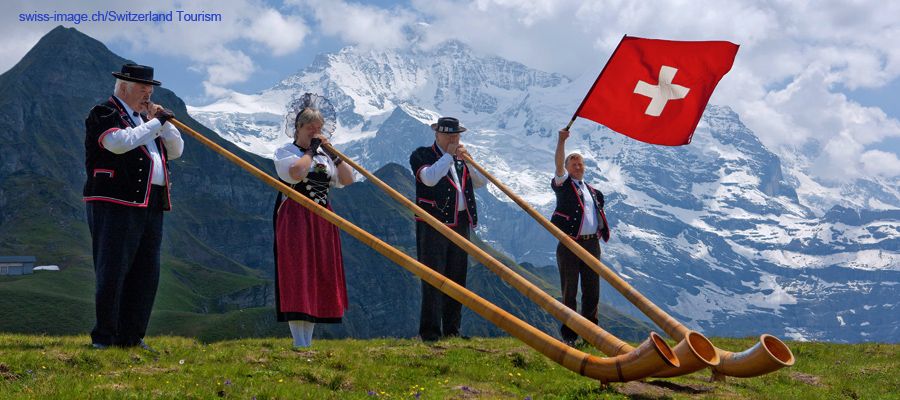"Männlichen:  There is no better place to blow the Alphorn than in front of the Jungfrau</span><span style=""color: #000000;\""><span style=\""font-family: arial,helvetica,sans-serif; font-size: 10pt;\"">"