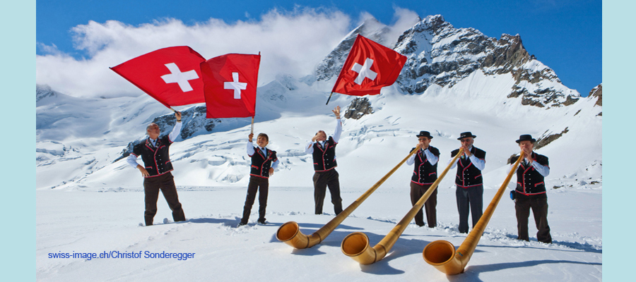Alphorns and Fahnenschwinger on the Aletschgletscher